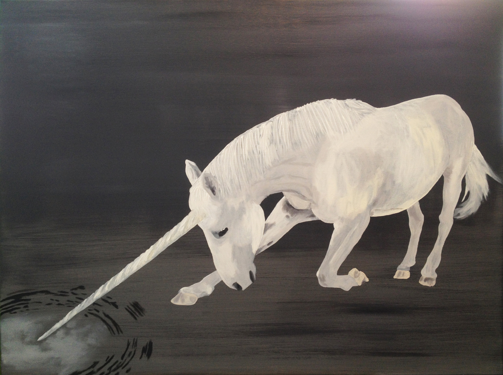 Jesse Waugh   Unicorn Purifying Water   2013 Oil on canvas