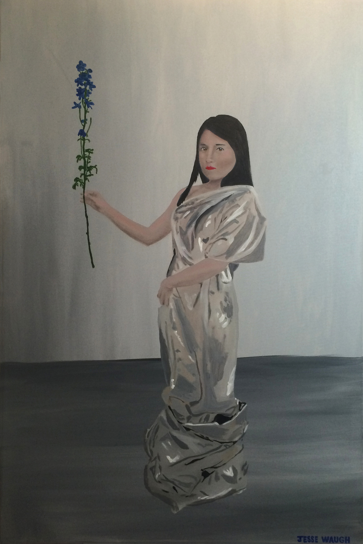 Jesse Waugh Olivia Delphinium (Portrait of Hyunjeong Kim 김현정) 2014 Oil on canvas