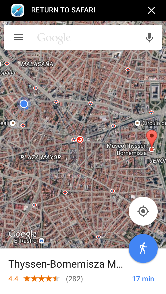 Map showing Madrid's Puerta del Sol sunburst street design -centre photo