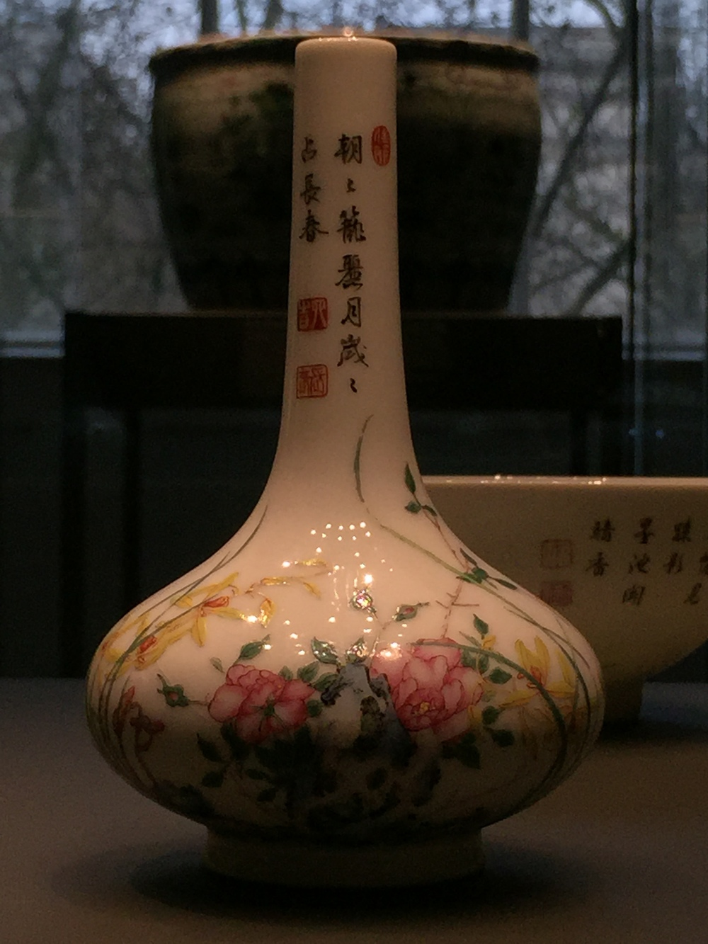falangcai bottle with flowers   1736-95 Chinese porcelain at the British Museum Sir Percival David Collection