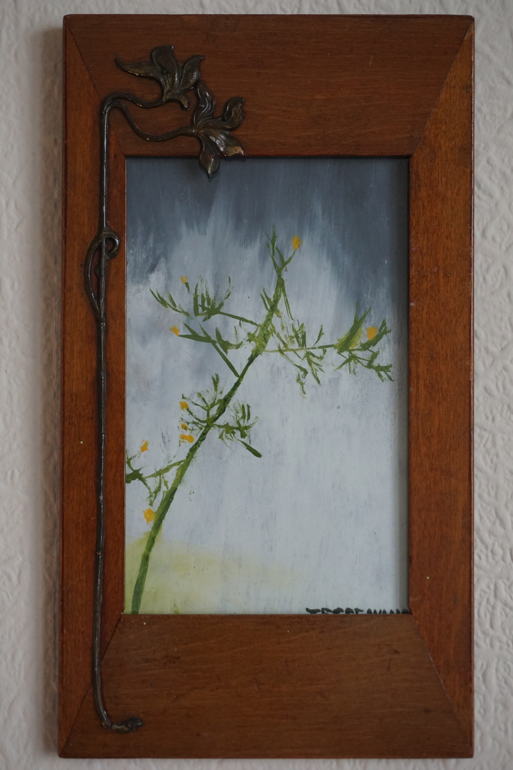 Wall Lettuce in the Rain with antique Art Nouveau frame