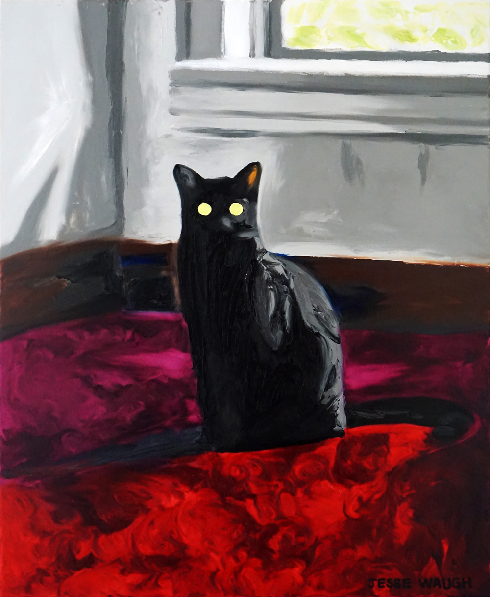 JESSE WAUGH   LE CHAT NOIR   2016 OIL ON CANVAS 60 X 73 CM