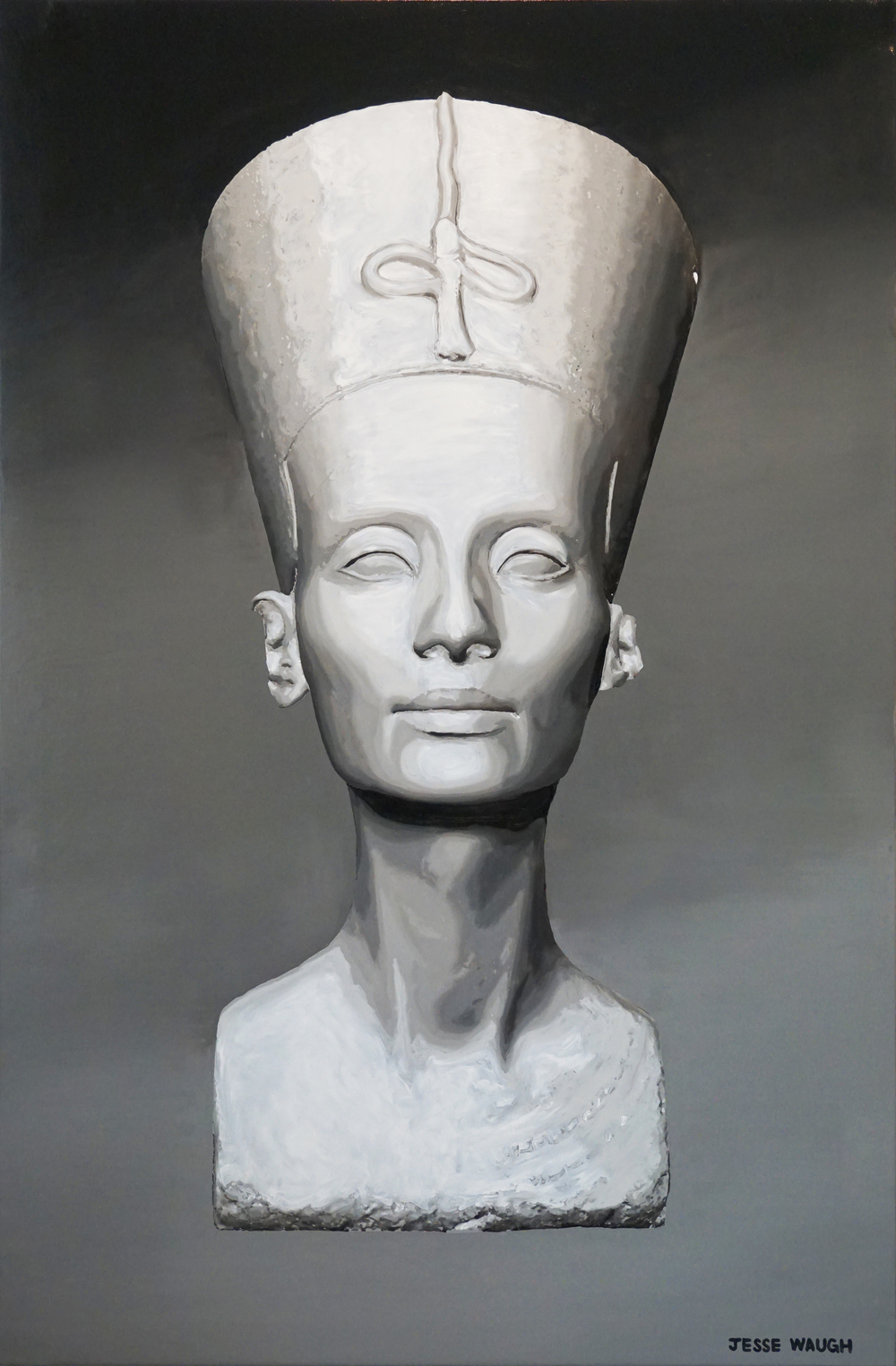 JESSE WAUGH THE BEAUTIFUL ONE (BUST OF NEFERTITI) 2016 OIL ON CANVAS 97 X 146 CM