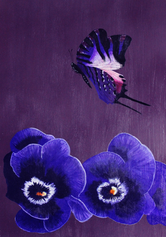 Dave Hall Butterfly Painting - Purple 2016