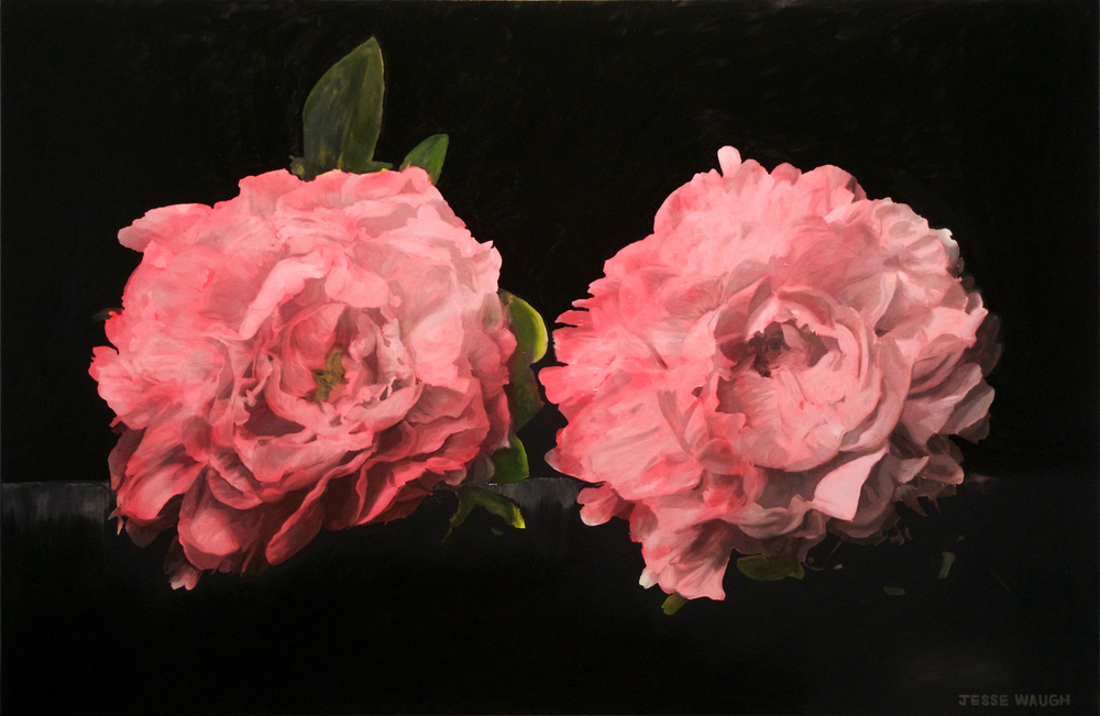 JESSE WAUGH   PINK PEONIES   2016 OIL ON CANVAS 146 X 97 CM