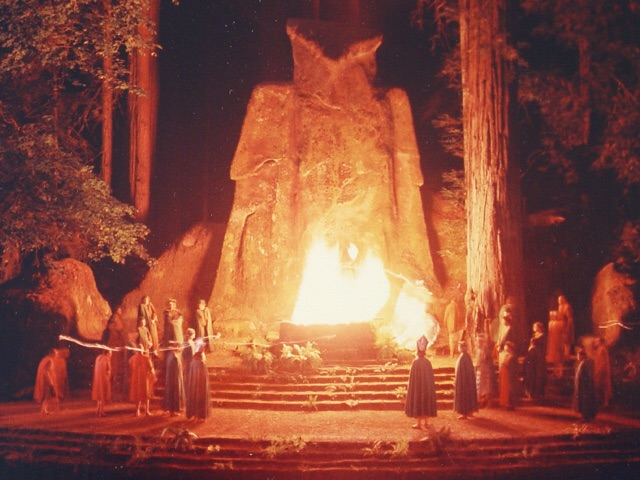 Bohemian Club members sacrificing to the Moloch Owl at Bohemian Grove