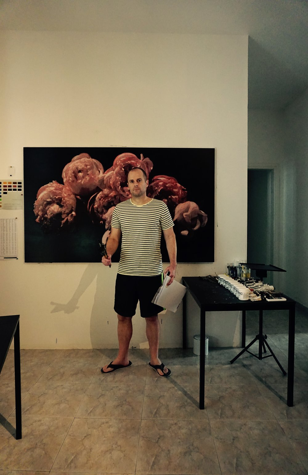 Jesse Waugh in front of   Pink Peonies Wabisabi