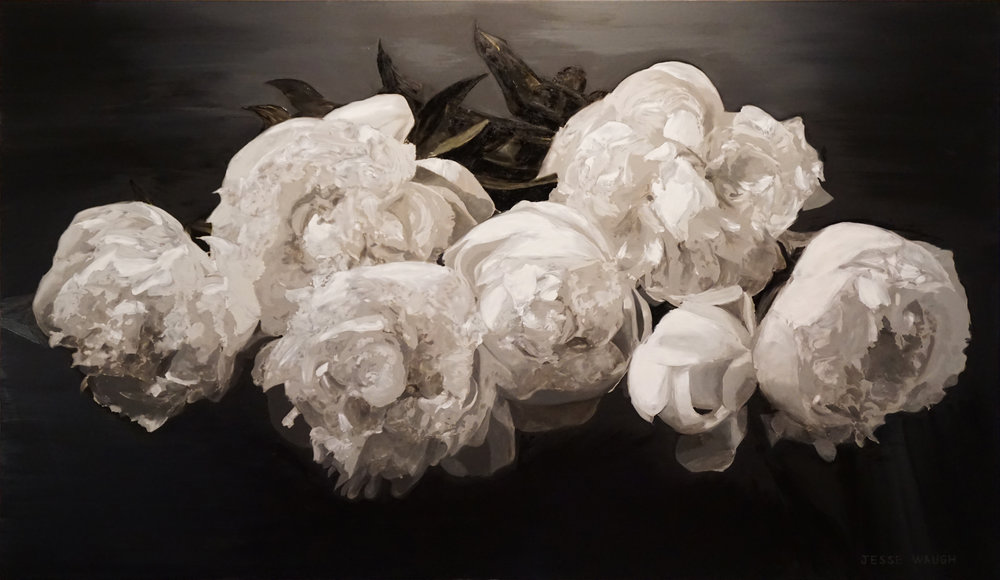 JESSE WAUGH   PEONIES MAJESTIC   2016 OIL ON CANVAS 195 CM X 114 CM