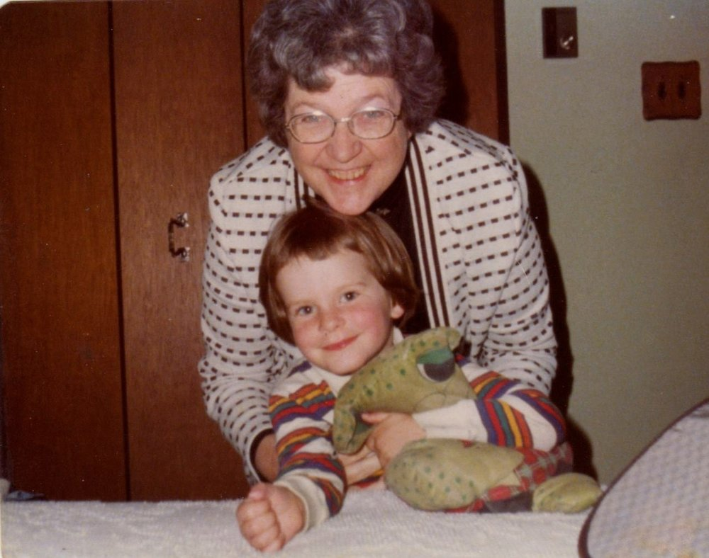 Jesse's Grandmother Isabel Wilson (Black) Coleman with Jesse Waugh and Mr. Froggy  in Michigan in 1978