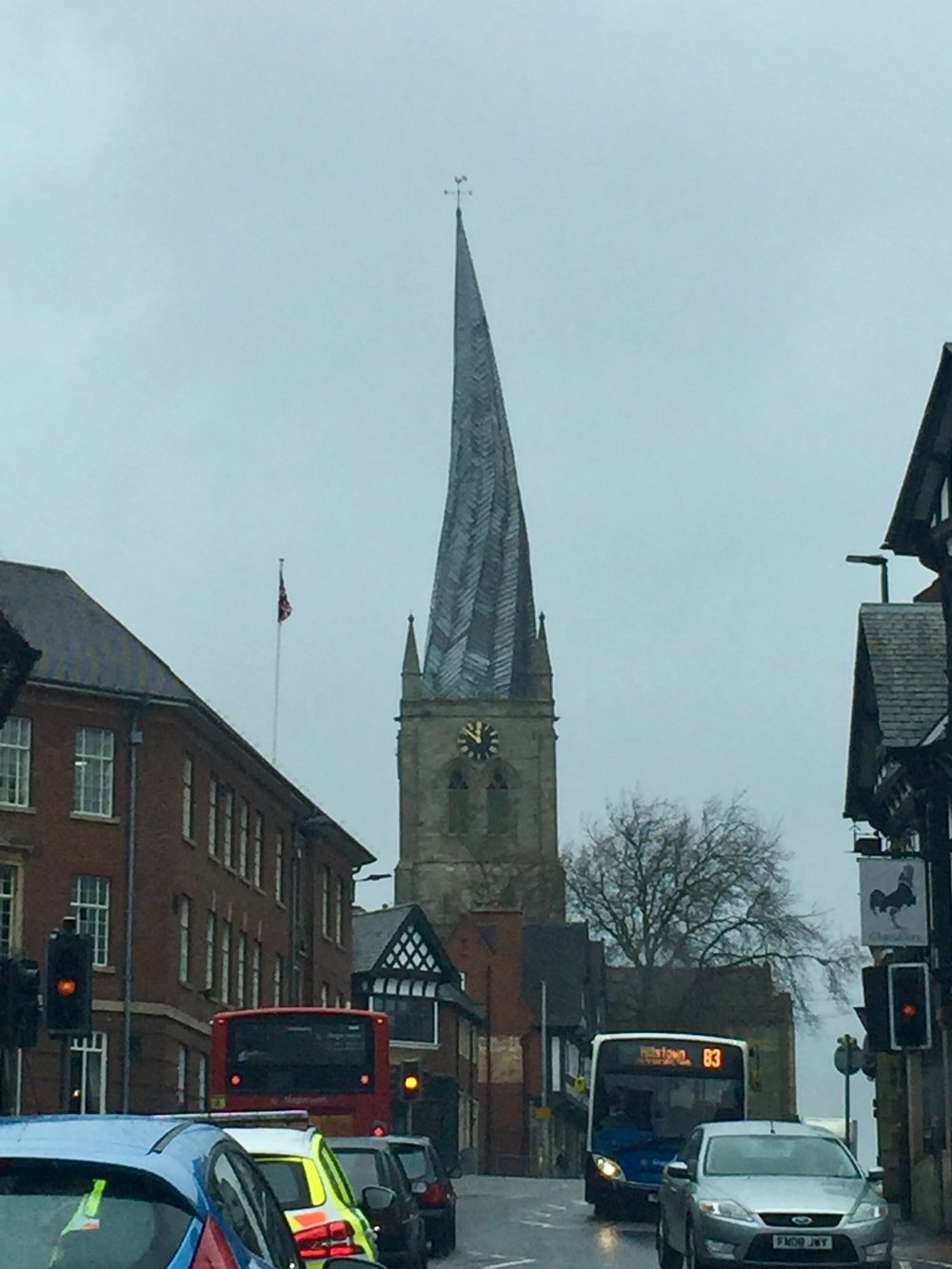 The Church of Saint Mary and All Saints in Chesterfield, England, UK with its crooked spire