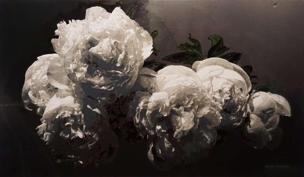 JESSE WAUGH PEONIES BAROQUE OIL ON CANVAS 2017 195 X 114 CM