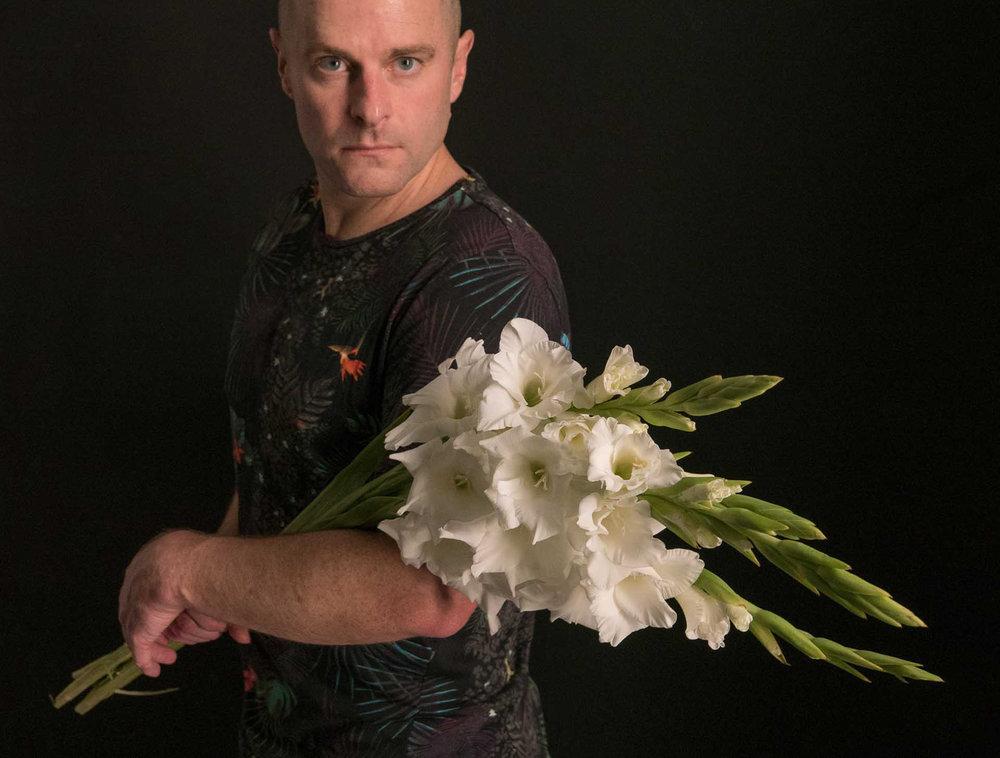 Jesse Waugh with gladiolas