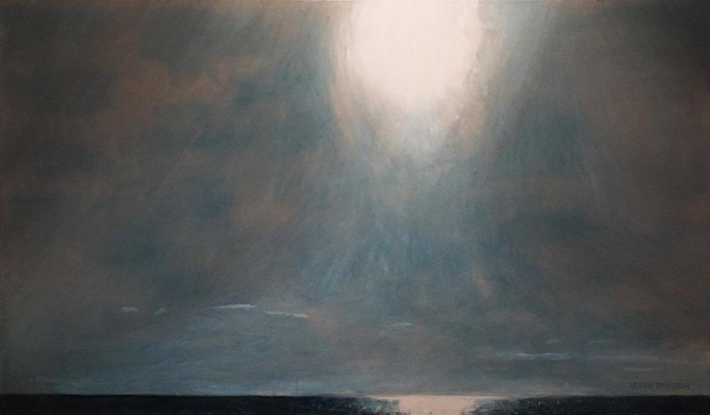 Jesse Waugh   Sun Over the Mediterranean from Balmins Beach   2017 Oil on canvas 195 X 114 cm