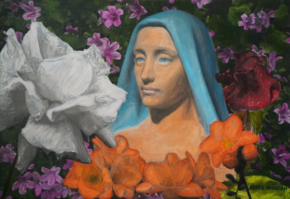 JESSE WAUGH   SACRED WHITE ROSE   OIL ON CANVAS 2018-05-16 130 X 89 CM