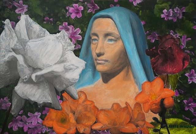 """Sacred White Rose"" Oil on canvas by Jesse Waugh (link in bio)"