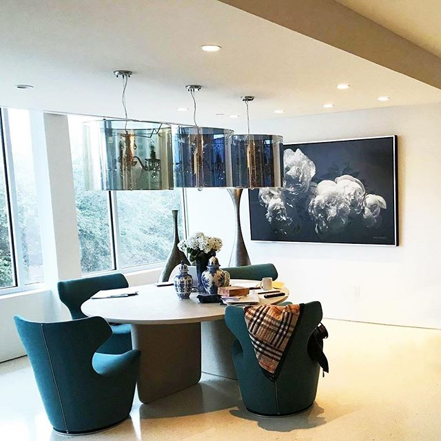 "Thanks to Susann Fishman @finnswedeamerican and Rich for this awesome shot of my painting ""Peonies Baroque"" at their new place in Dallas!"