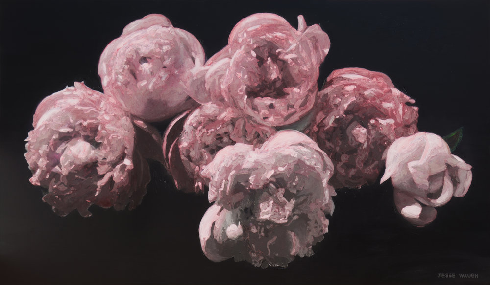 JESSE WAUGH   PINK PEONIES WABISABI   2016 OIL ON CANVAS 195 X 114 CM