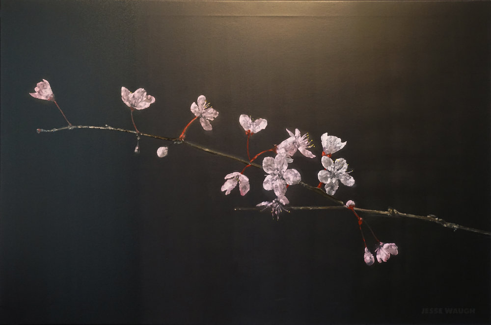 JESSE WAUGH   CHERRY BLOSSOMS ADYTUM   2016 OIL ON CANVAS 146 X 97 CM
