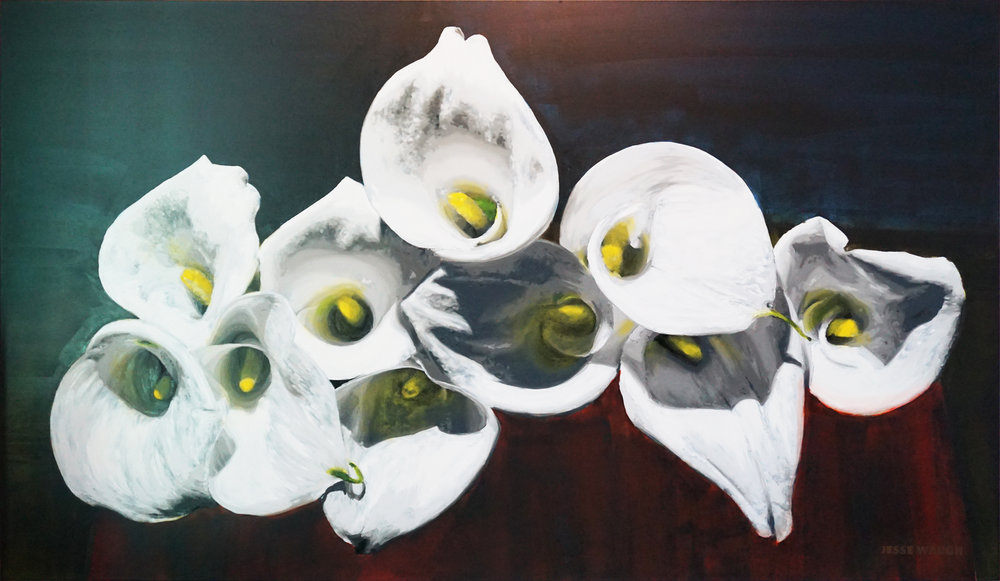 JESSE WAUGH   CALLA LILIES PHILOKALIA   2017 OIL ON CANVAS 195 X 114 CM