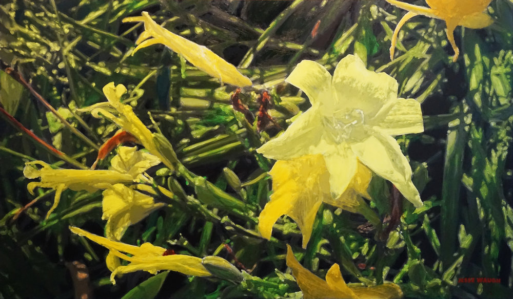"JESSE WAUGH   YELLOW LILIES ""QI-LI"" AT ARLEY HERBACEOUS BORDER   2017 OIL ON CANVAS 195 X 114 CM"