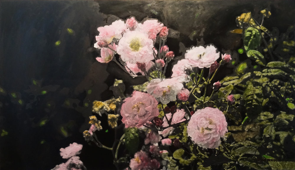 JESSE WAUGH   PINK ROSES AT ARLEY WALLED GARDEN   2017 OIL ON CANVAS 195 X 114 CM