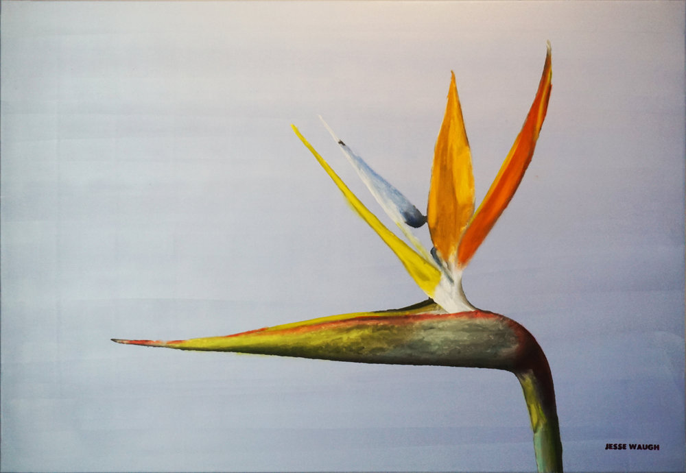 JESSE WAUGH   BIRD OF PARADISE   2018 OIL ON CANVAS 130 X 89 CM