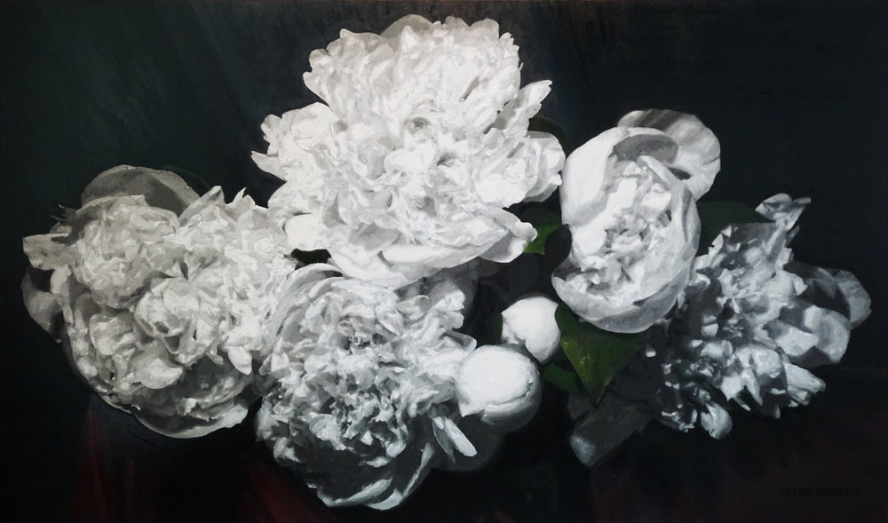 JESSE WAUGH   PEONIES MYSTERIUM   2018 OIL ON CANVAS 195 X 114 CM