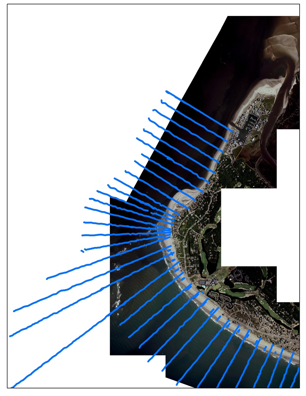 Beach and bathymetry profiles (blue) with 6 inch aerial photography