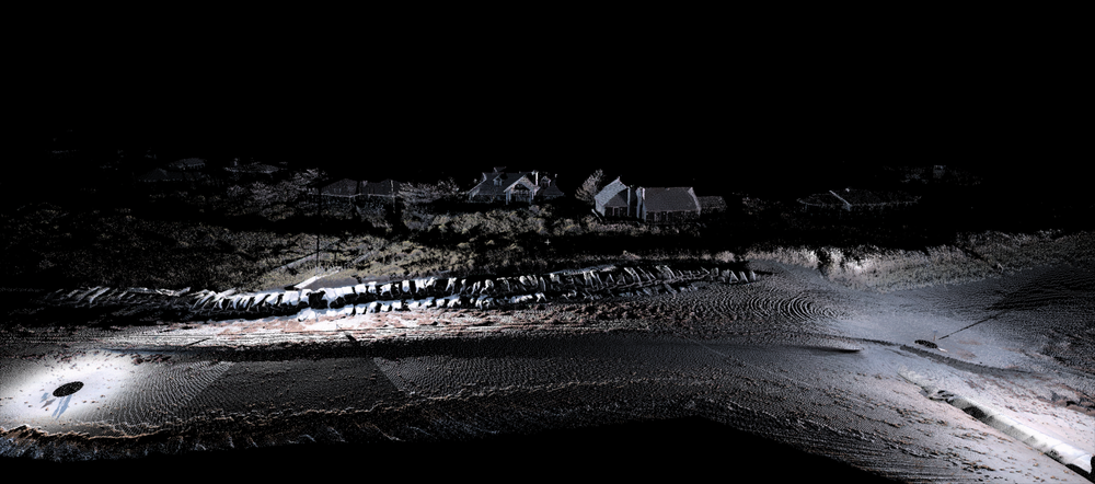 View of beach captured by laser scanning with photo colors overlaid on the point cloud