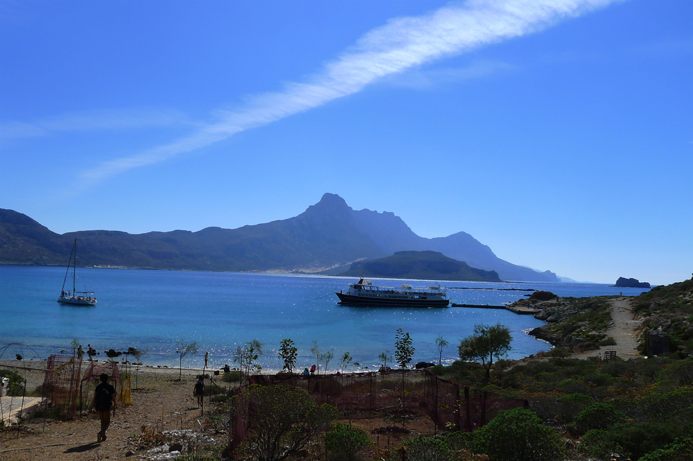 Docking in the bay at the Island of Imerl Gramvoussa