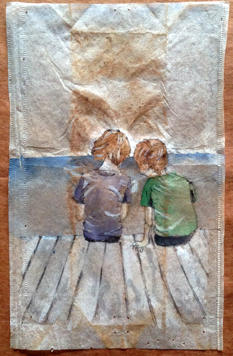 Tea bag painting by Ruby Silvious