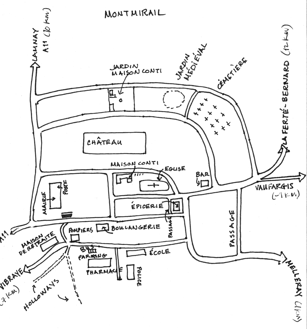 Hand drawn map of the village with landmarks. Be sure to see the aerial photo on the Maison Conti website.