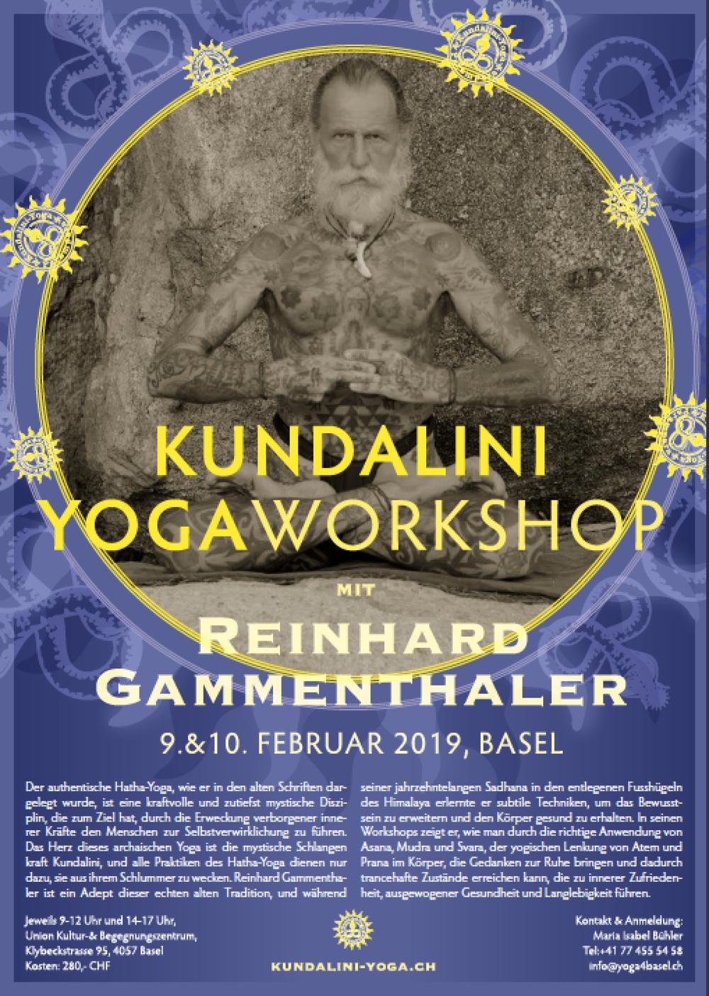 Workshop Kundalini Yoga Switzerland - poster series for the annual workshop with Reinhard Gammenthaler2016 | 2017 | 2018