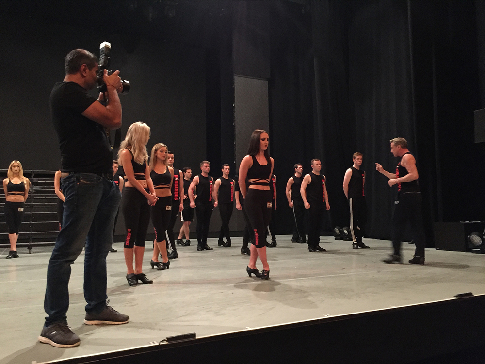 Michael Flatley conducts the rehearsal before the evening performance at the Lyric Theatre, NYC