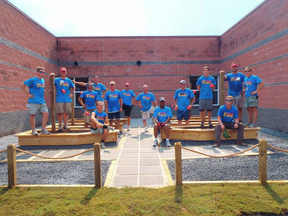 In just one day, a school garden was built! That's teamwork.