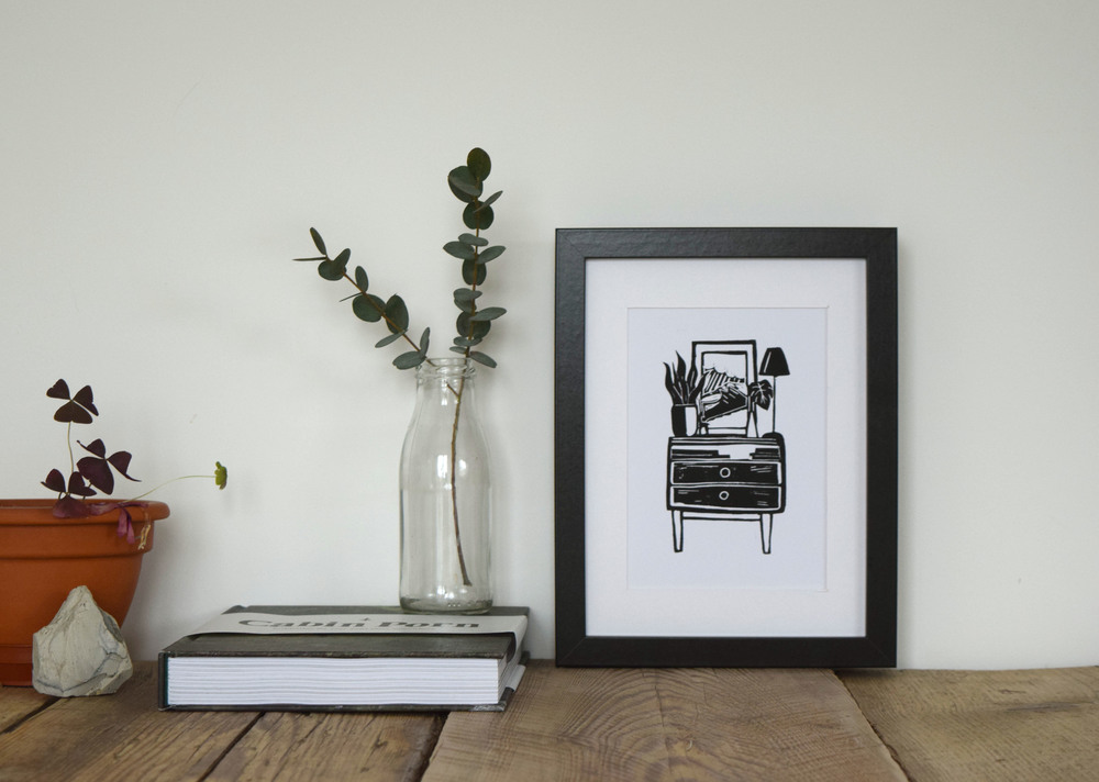 Mid Century Dresser Linoprint by Blue Eggs and Tea (2016)
