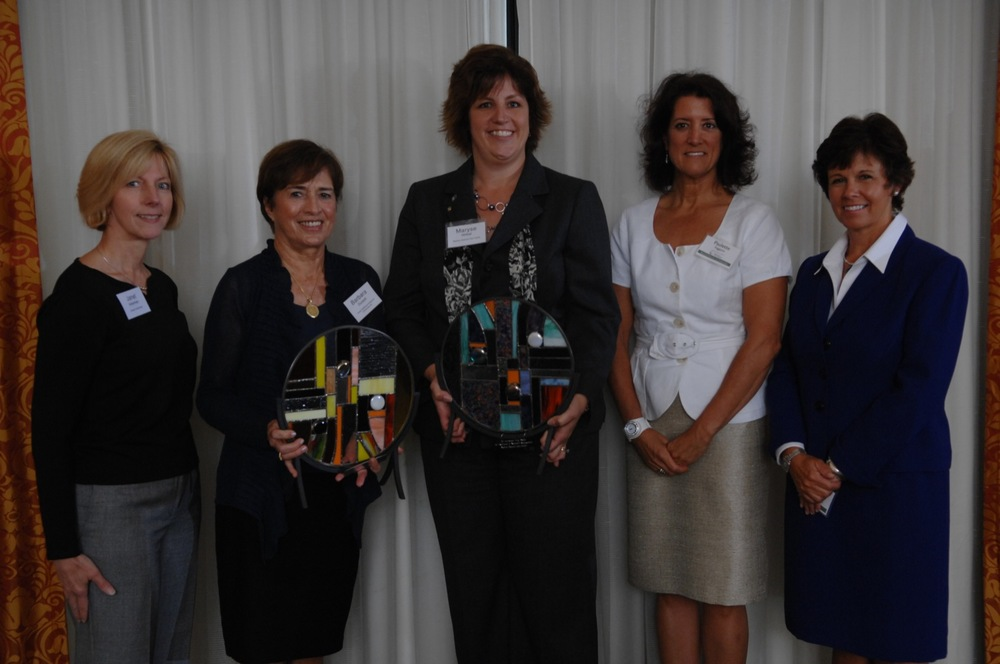 (l–r) Janet Ackerman, People's United Bank; Barbara Duckett, Home Healthcare, Hospice and Community Services; Maryse Wirbal, Nashua Pastoral Care Center; Paulette Faggiano, Public Service of New Hampshire; and Maryellen Jackson, NH Center for Nonprofits.