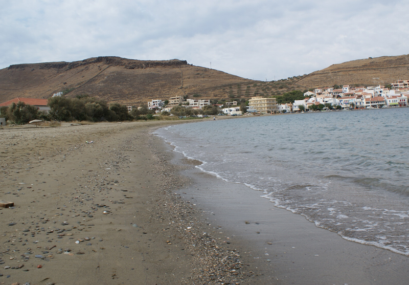 One of our collecting places in Greece, notice the pebbles on the beach.