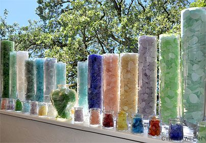 My friend's collection, or part of it! Can you imagine having a sea glass collection to look at like this on those dreary days!