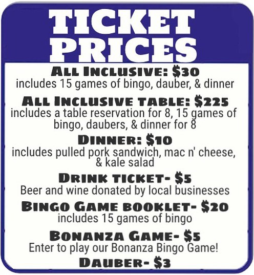 https://m.bpt.me/event/4066350 Do you have your tickets yet?  Get your all inclusive table or ticket now by using the link! If you need to buy individual items, stop by the center to say hi and someone will help you!