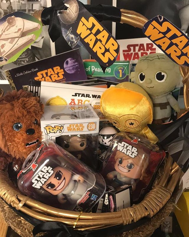 Today's basket reveal! Our Star Wars Basket is full of toys and books that are out of this world! Includes a Funko Pop! Hans Solo Figure, Princess Leia and Luke Skywalker figures, multiple plush and books all at a value of $140. Perfect for Easter or a birthday, make sure to get your raffle tickets in now, $5 per entry.  May the force be with you😄