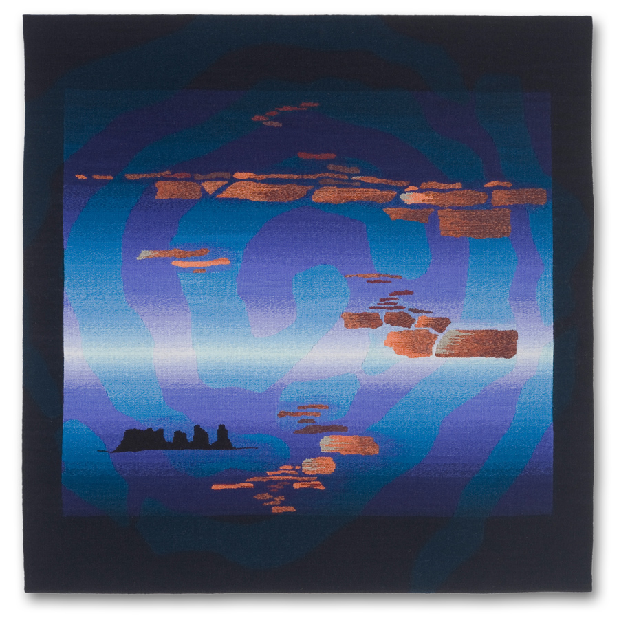 Rebecca Mezoff  Emergence V: The Center Place  45 x 45 inches hand-dyed wool tapestry NFS photo: James Hart