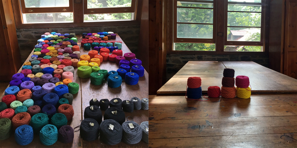 The yarn table at the beginning of the class and at the end.