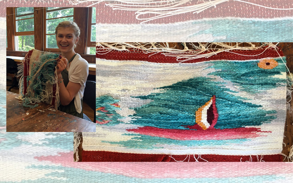 Abbi Tucker worked on this weaving for a week. It was a push at the end and she had to leave out some elements she was committed to, but her color gradation was beautiful. Abbi had never woven before.