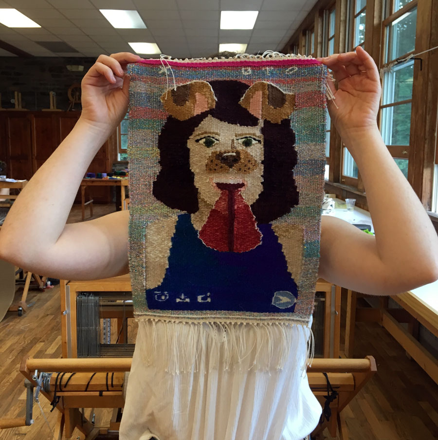 Hadas wove this marvelous Snapchat image of herself. I love the juxtaposition of a social media image made in a slow fiber art form like tapestry. I think she must be a fantastic art teacher and I suspect she'll be weaving more tapestry in the future.