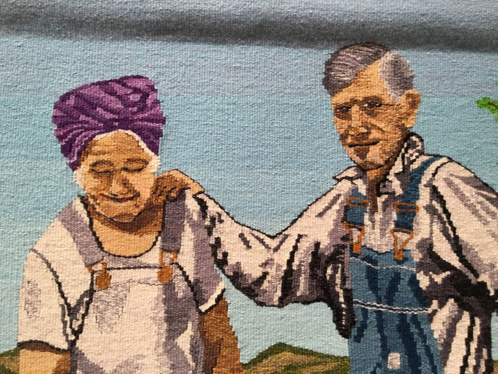 Terry Olson, The Milk Maid and the Boss, detail, tapestry