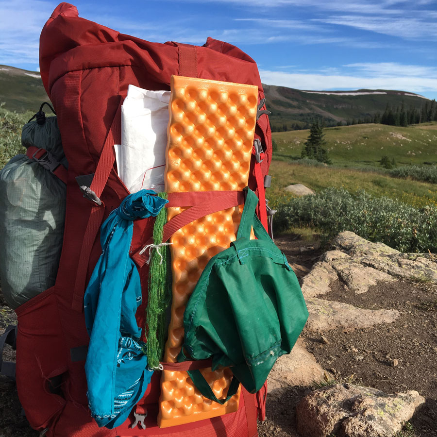 Green handspun drying on the back of my pack near Searle Pass (12,043 ft)