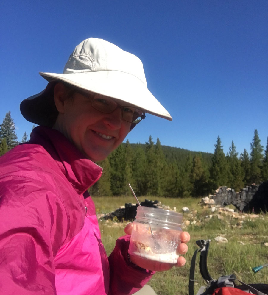 Second breakfast at the coking ovens near Tennessee Pass, Day 3. Often I get up early, start hiking to warm up and then when the sun is stronger, I stop to dry gear and eat some more.