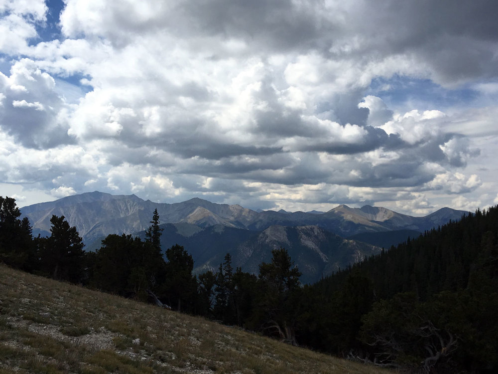 The mighty Mount Princeton from the saddle of Mount Yale.