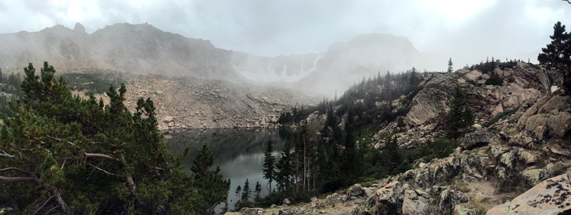 This is Emmaline Lake where Peggy and I hiked Thursday. Shortly after I took this photo, it started snowing and we had to get a move on.